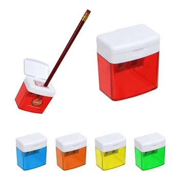 Newest office mini wood flour dispenser transparent colorful plastic block shape flip open two holes 3B custom pencil sharpener