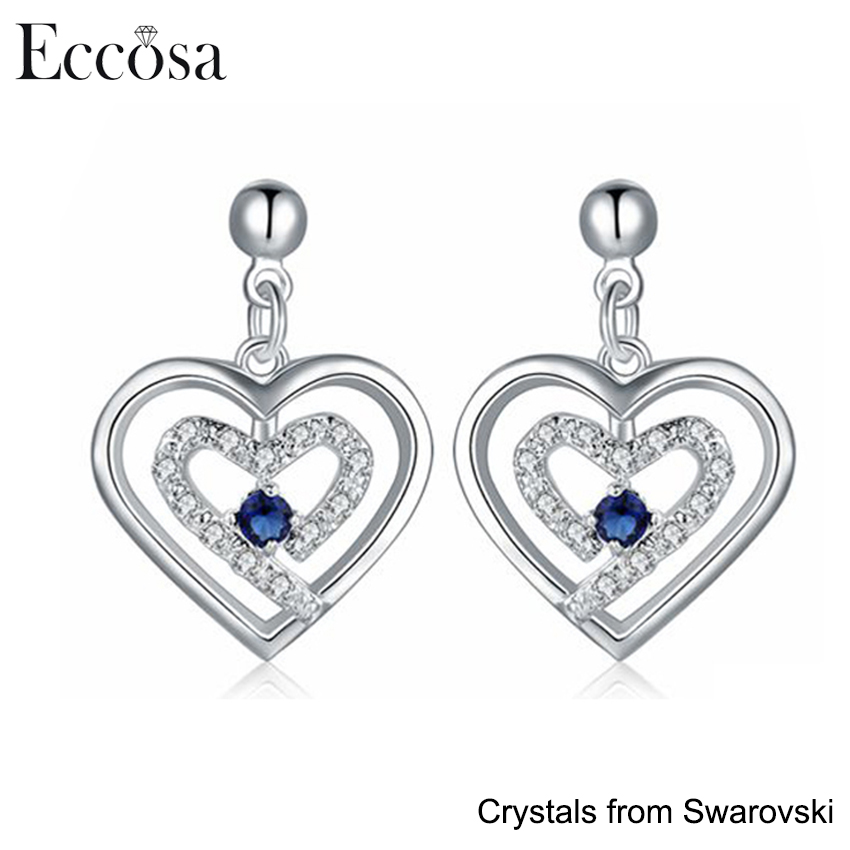 Eccosa New Design 925 Sterling Silver Heart in Heart Pendant Earring with Crystals from Swarovski Fashion Earrings for Women