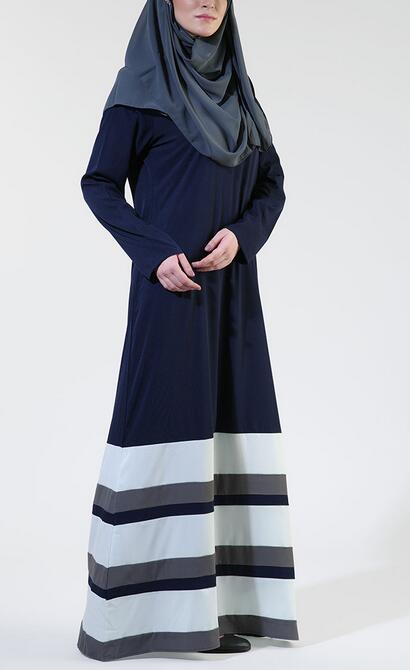 new model abaya in dubai Stripe Crepe Navy muslim dress