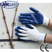 NMSAFETY CE 13 gauge white nylon colored nitrile gloves