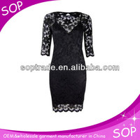 3/4 sleeve lace dress designs patterns for women
