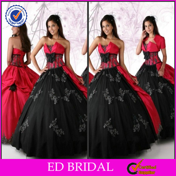 EDQ031 Two Tone Appliqued Red Black Quinceanera Dresses with Detachable Skirt