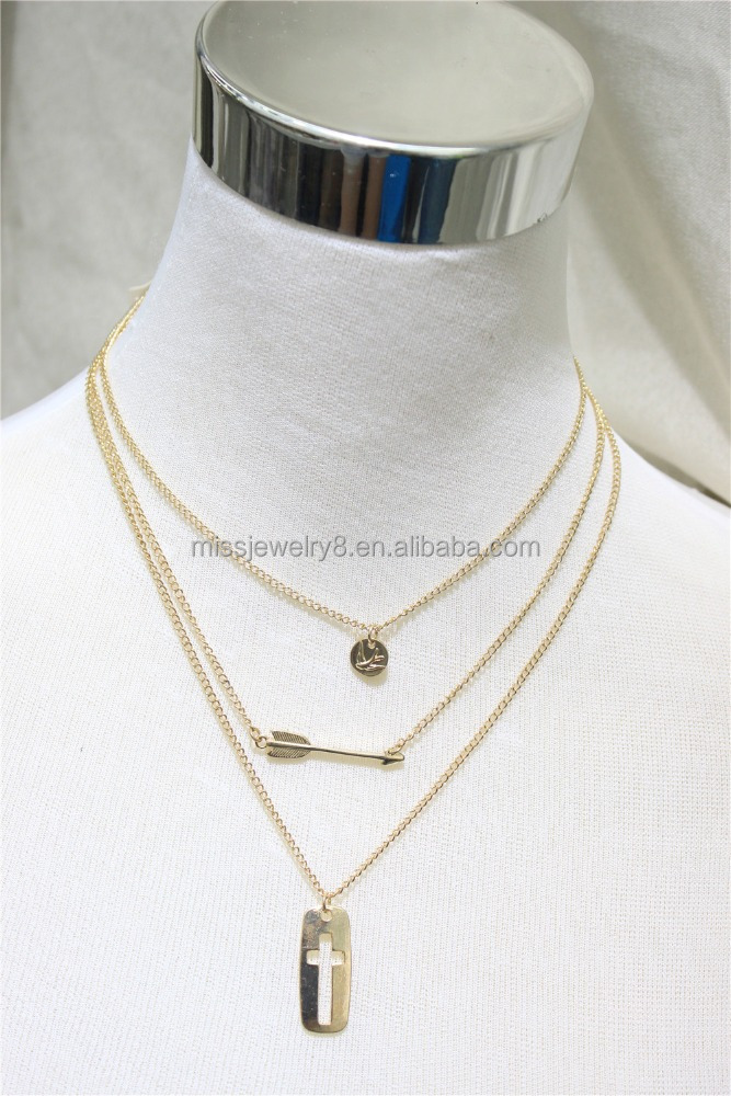 Multi Layered Plated Gold Necklace Set w/Arrow Bird & Cross 2016 Fashion Style Wholesale