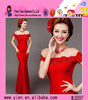 Luxury Backless Red Lace Evening Dress Sexy Customized Long Mermaid Red Lace Evening Dress