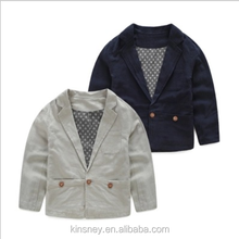 KS10396B Casual style simple plain color kids blazer wholesale cotton linen boys suits
