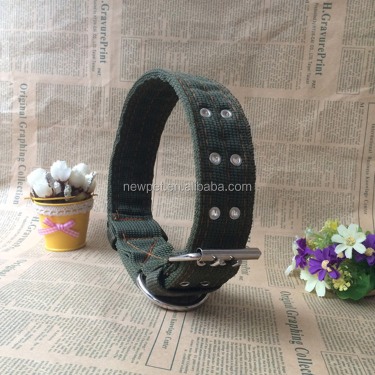 Special customized hot sale army green nylon useful tools oem pet dog collars