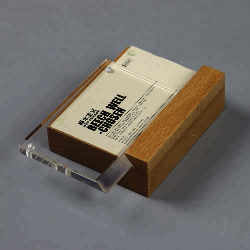 Wooden Solid Square Universal Crystal Display A5 Acrylic Price Tag Mobile Shop Table Top Display