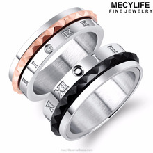 MECYLIFE Spinning Gear Ring Couple Stainless Steel Screw Ring