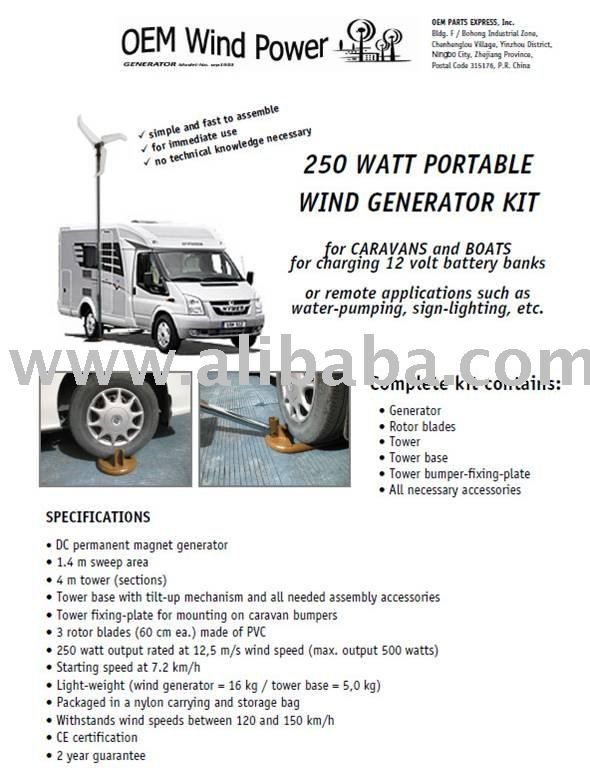 250 Watt Portable Windmill for Caravans and Boats