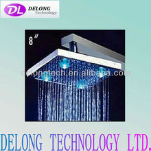 "CE and RoHS 8"" RGB color brass rainfall led shower head"