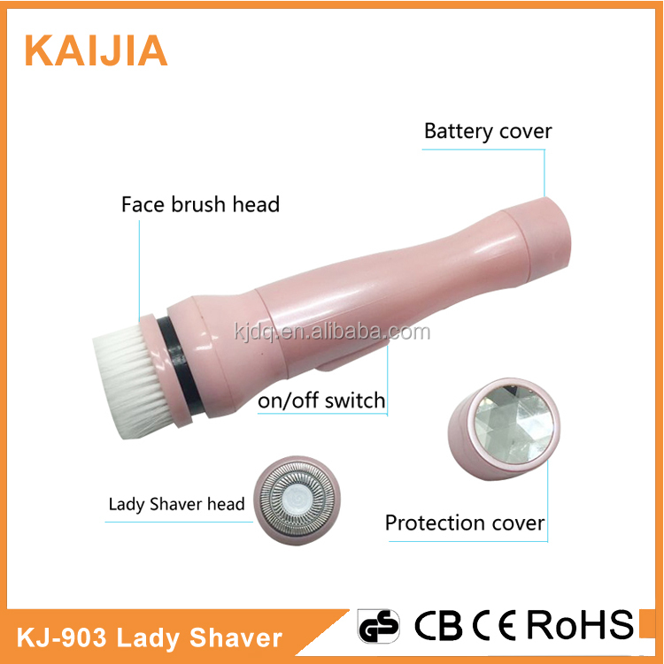 Mini lady shaver with face brush as seen as on TV