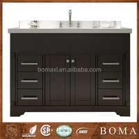 Waterproof Modern Dark Cherry Wood Bathroom Vanity Cabinet