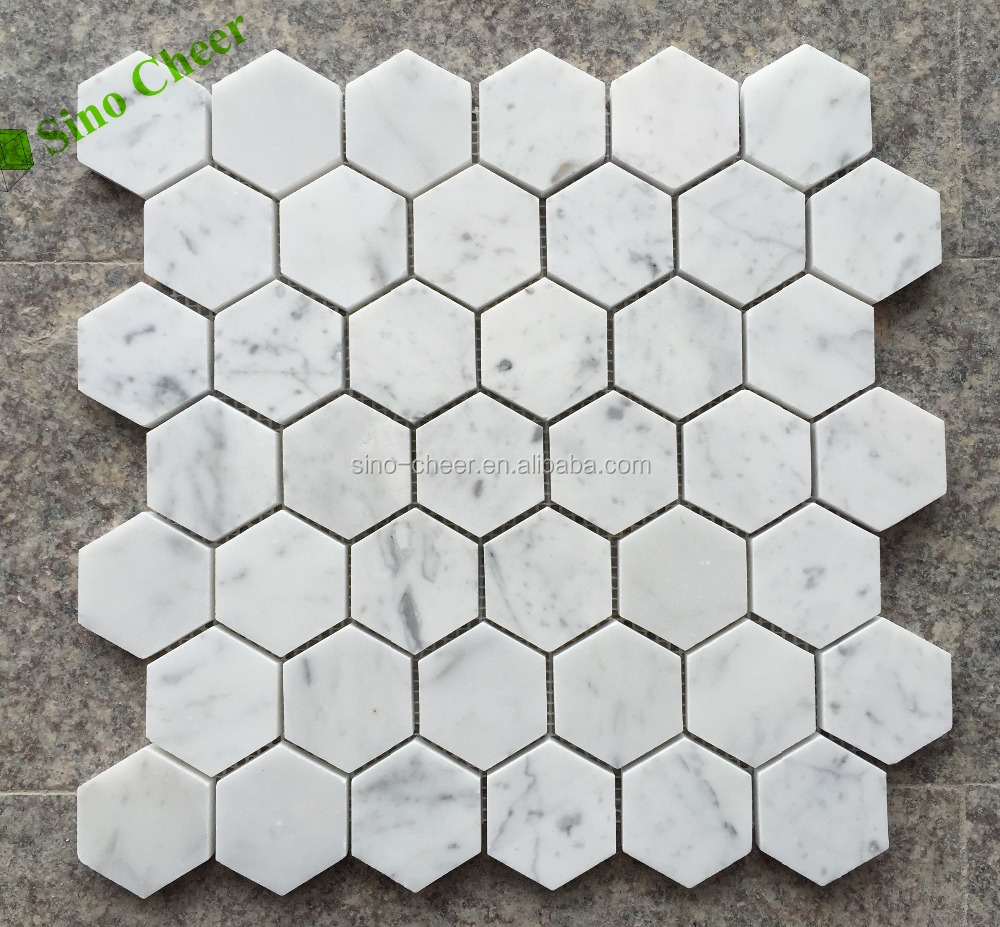Carrara White Marble Honed 2 Inch Hexagon Mosaic Tile marble mosaic pieces