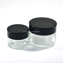Empty Facial Cosmetic Cream Sample Container 15ml 30ml 50ml Clear Glass Jar with black lid