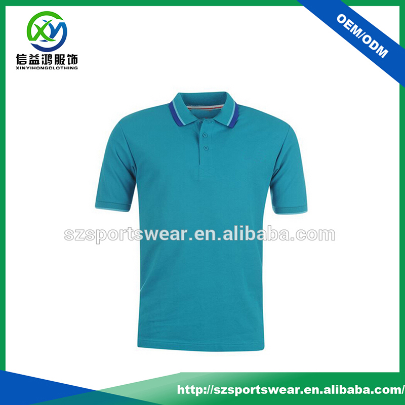 High Quality 100% Polyester Pique Knit Collar Men Polo T-shirt in Blue