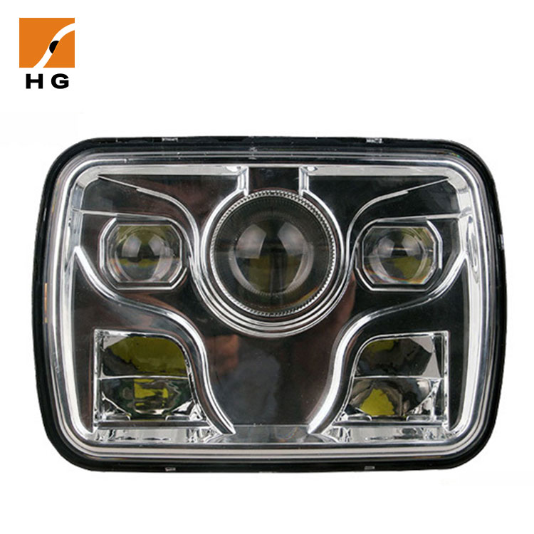 "HG-1034B truck led headlight 7 inch offroad 7"" square led headlight 5x7"