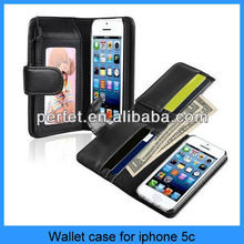 For iphone 5c wallet case High quality man Purse Card Holder Flip Wallet Leather Case(PT-I5CL209)