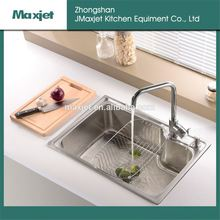 double hand made kitchen sink brass kitchen faucet with stainless steel pipe