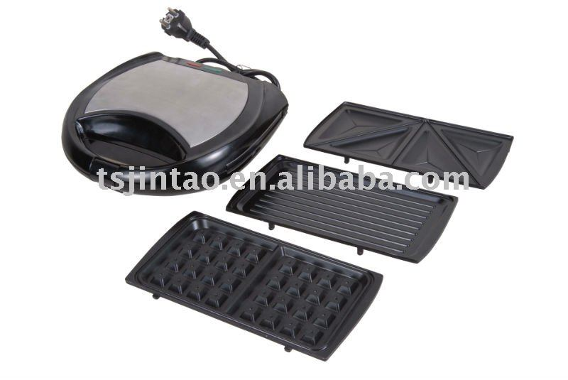 S/S 3 in1 changeable sandwich/waffle/grill maker