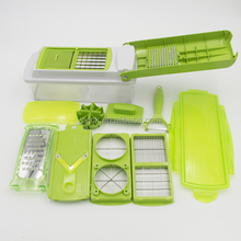 12 in 1 Onion chopper, fruit dicer chopper, fruit and cheese cutter container with storage Lid Vegetable Slicer Shredder