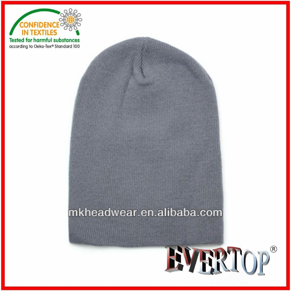 Basic plain knitting winter long beanie/toque/hat for adult wearing