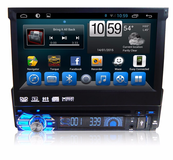 half 1 din Single Din Universal Android central multimedia system with Quod Core 1024*600 HD Screen