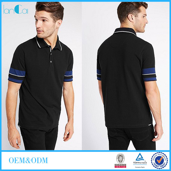 Custom Brand Logo Stylish 100% Cotton Men Custom Leisure Wear Cheap Black Polo t shirt LC8463-N