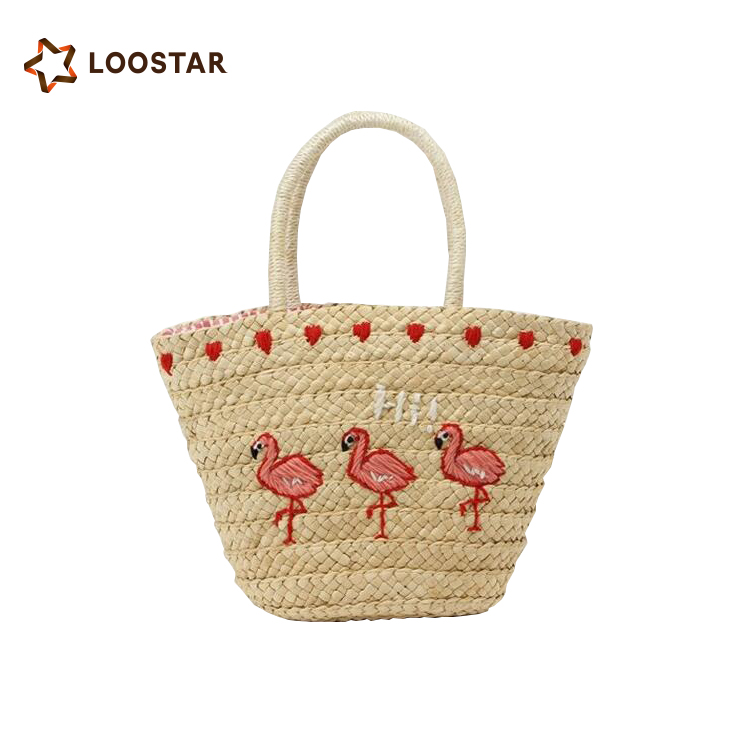 Hot Embroidery Flamingo Summer Straw Tote Bag <strong>Handbag</strong>