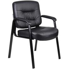 Boss Office Products Executive Mid-Back Leatherplus Guest Reception Chair, Black