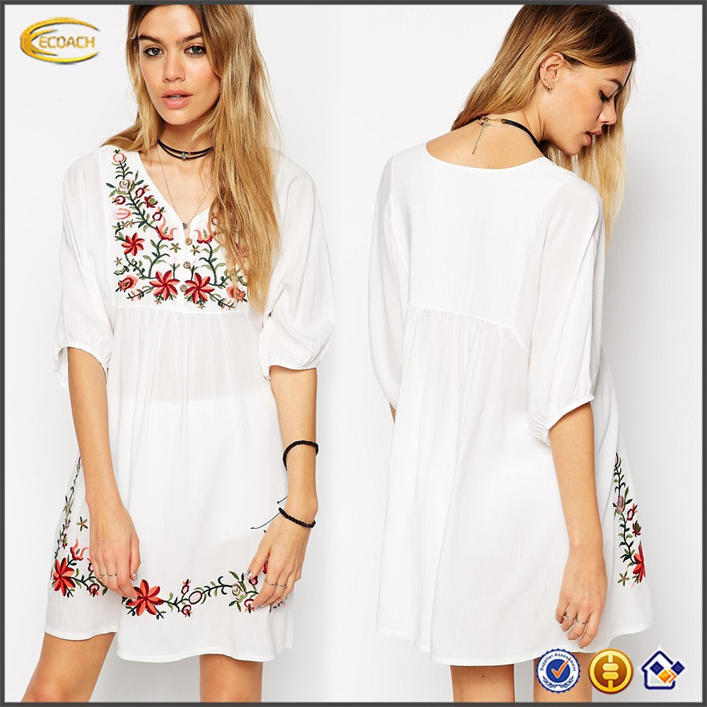 2017 Ecoach OEM Wholesale Celebrity dress Women Button placket Short Sleeve Vintage ladies fashion white embroidered dress