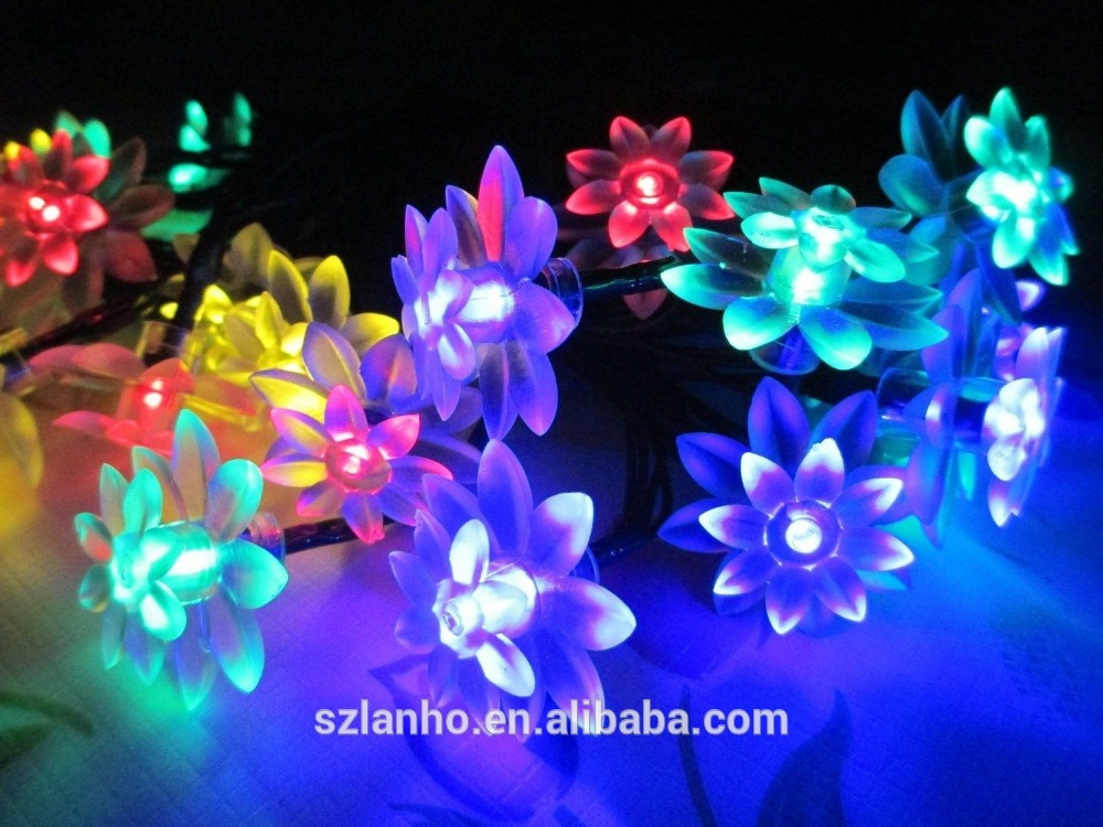 2016 new hot sale 20 LED Lotus Flower Solar Power String Light f Outdoor Christmas Party Festival