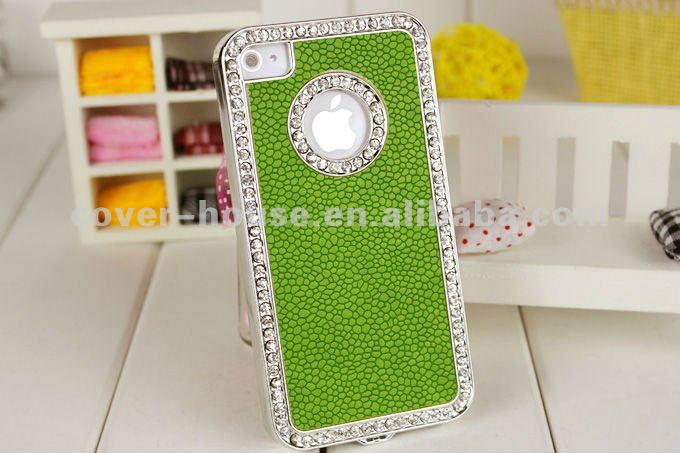 Luxury Sparkling Bling Crystal Diamond Leather Case For iPhone4 4S
