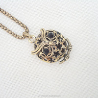 Top quality women new western style wise round hollowed flower designs owl pendant necklace long gold chains