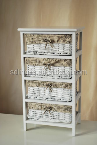 Wholesale Shabby Chic Decor White Wicker Chest Wood Display Cabinet