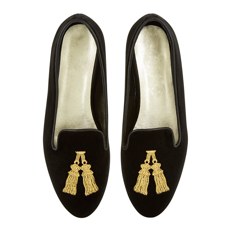 Women's gold embroidery Loafer Ballet flats folding ballerinas