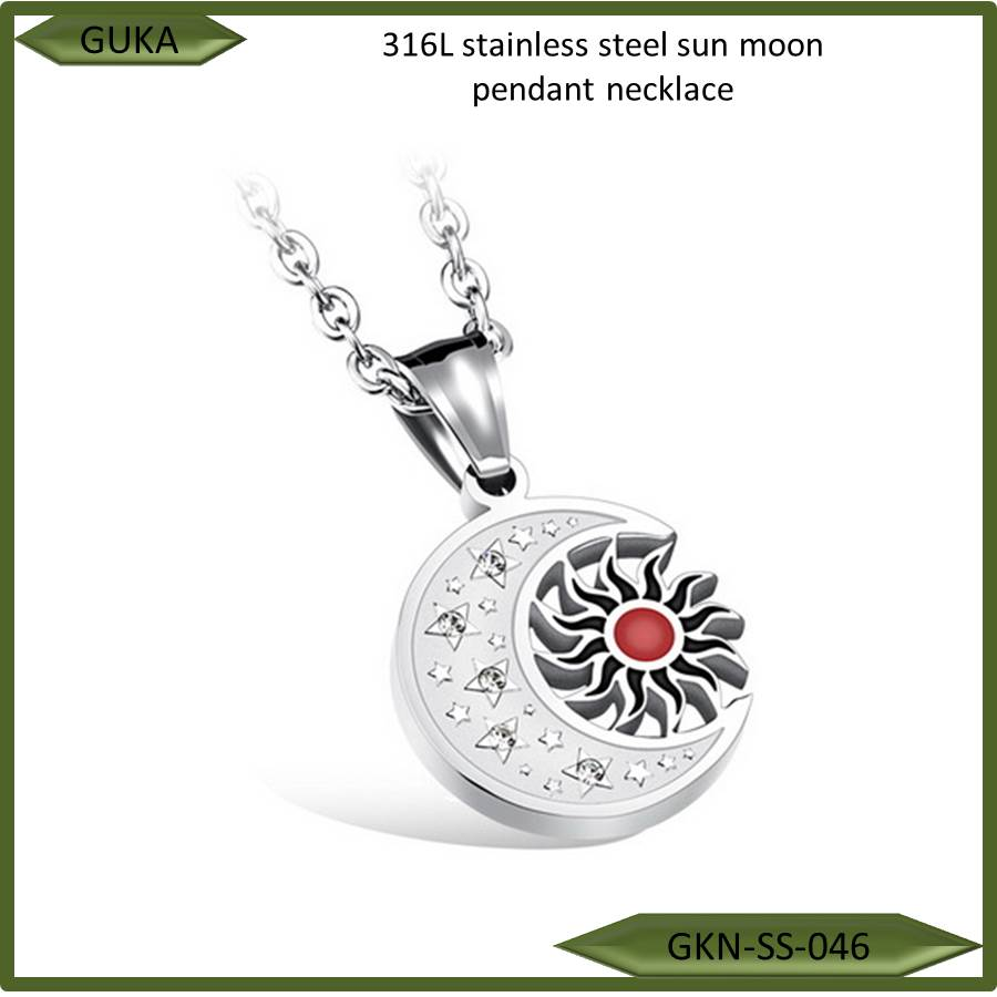 high quality fashion 316L stainless steel women gold sun moon titanium steel lover pendant <strong>necklace</strong>