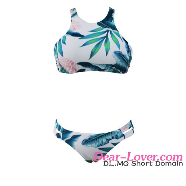 Fashion Light Blue Tropical Leaf Print High Neck Bikini Style Bathing Suits