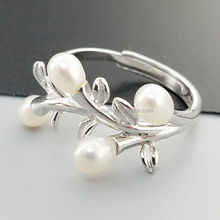 Designer fancy 925 sterling silver pearl tree ring