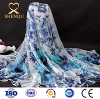 Blue and White Porcelain Long Scarf shawl spring summer pashmina Digital printed georgette plain chiffon silk scarves ladies