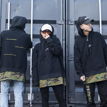 New 2017 Fake Two Pieces Black Camo Oversized Hoodies Men Custom Blank High Quality Hoodies Wholesale