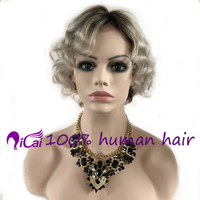 Cheap Grey Lace Front Wig Brazilian Virgin Remy Human Hair Wig Bob Short Curt Ombre 1B/ Grey wavy Lace Front Hair Wig
