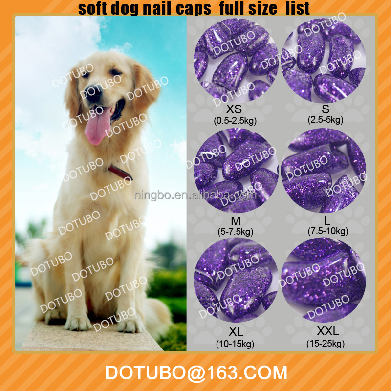 NEW Shining Color Soft Dog Nail Caps/Dog Nail Protector/Dog Grooming/6 Size XS S M L XL XXLWith Free Glue
