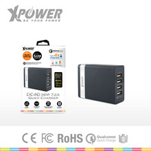 Fine Rohs UK socket 100 to 240V four outputs with LED Smart Charging Cell phone Quick phone charger 3.0 for Desktop