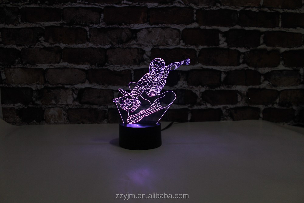 Free Shipping, YJM-2917, Super Hero Spider, 3D LED Decorated Colorful Nightlights, Table or Bed Lamp with Touch Control