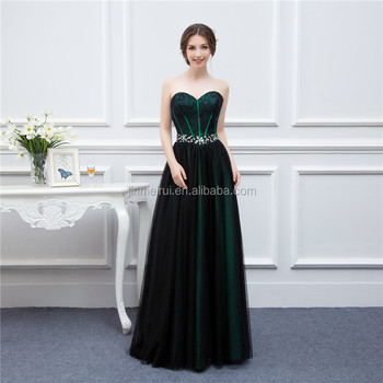 New Design Emerald Green Evening Dresses Woman Black Tulle Applique Beaded Long Formal Evening Gown Real Sample High Quality