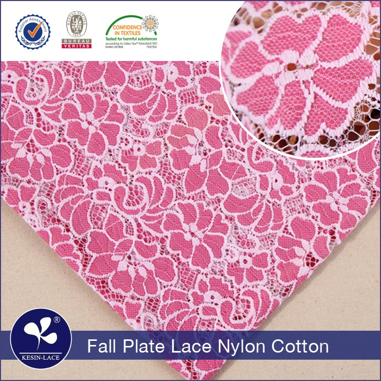 2017 high quality cheap nylon cotton polyester african pink guipure 3d flower lace
