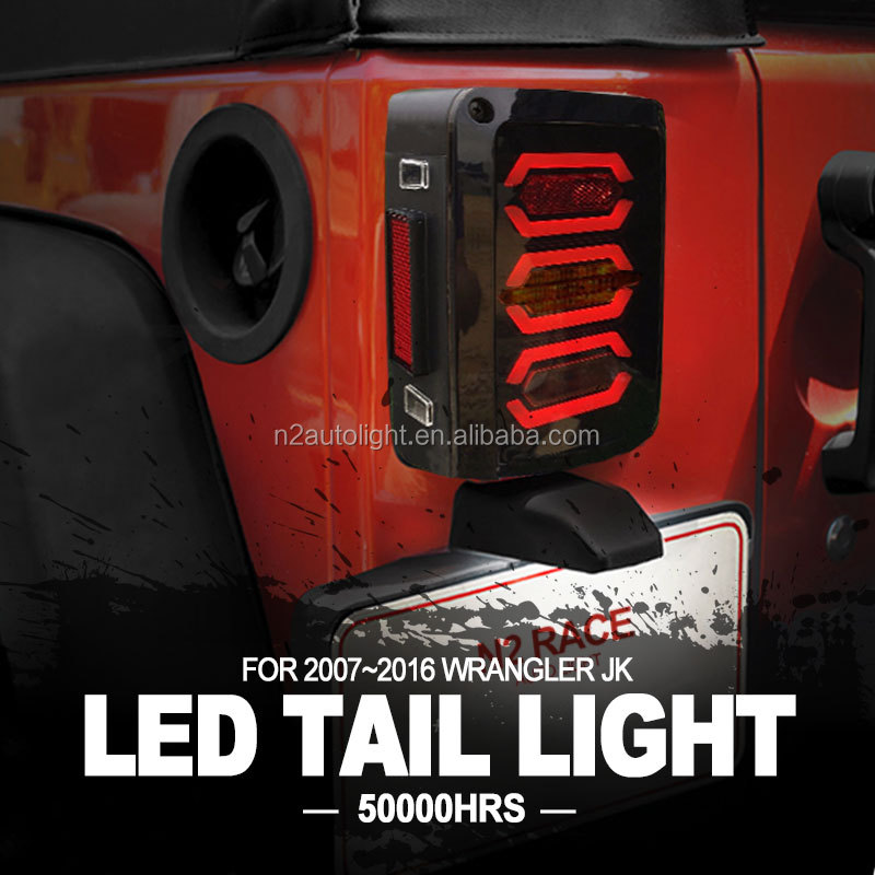 Lifetime Warranty 07-16 Jeep Wrangler JK LED Rear Tail Light for Brake Turn Signal Reverse