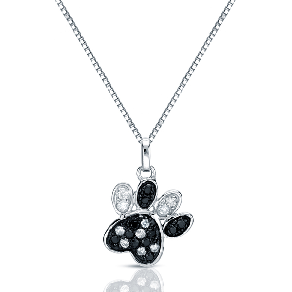 Lovely black and white cubic zirconia dog paw print jewelry necklace