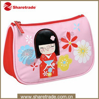 Cute printed small polyester cosmetic bag zipper toiletries pouch