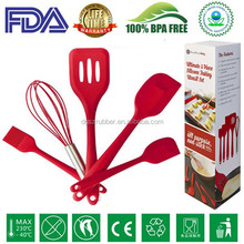 BPA free silicone kitchen utensil set of 5 Piece ,silicone cooking tools ,Silicone kitchen tools -Red